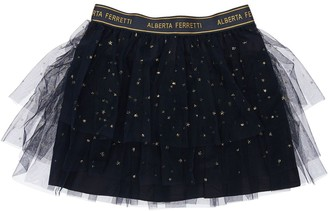 Alberta Ferretti Glitter Stretch Tulle Mini Skirt