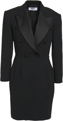 MSGM Satin-trimmed Button-embellished Crepe Mini Dress