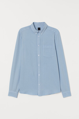 H&M Slim Fit Lyocell-blend Shirt - Blue