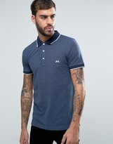 Lindbergh Tipped Pique Polo Logo Regular Fit in Dark Blue