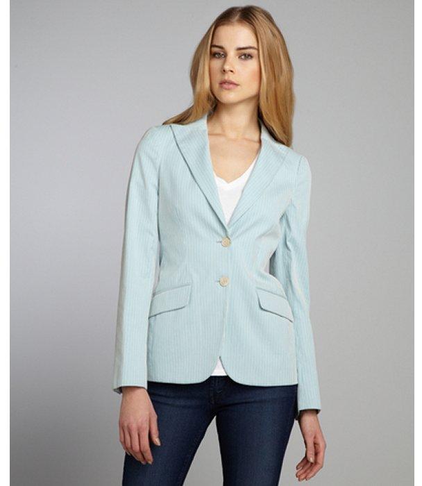 Loro Piana robin's egg blue striped cotton peaked lapel blazer