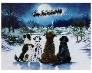 Northlight Led Fibre Optic Lighted Dogs Watching Santa Claus Christmas Wall Art