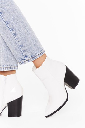 Nasty Gal Womens Save Your Soul Faux Leather Patent Boots - white - 3