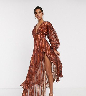 Asos DESIGN snake print maxi dress in self stripe and blouson sleeve