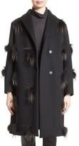 Fabiana Filippi Women's Genuine Fox Fur Trim Wool Blend Coat