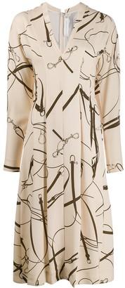 Victoria Beckham belt print midi dress