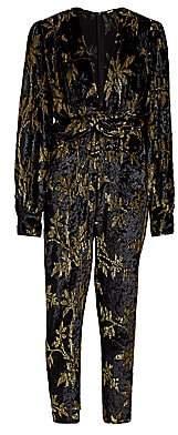 Dodo Bar Or Women's Anatalya Metallic Floral Velvet Jumpsuit