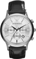 Giorgio Armani Men's Chronograph Stainless Steel Case and Leather Bracelet Silver Tone Dial Date Display