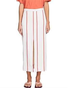 Bassike Stripe Split Detail Skirt