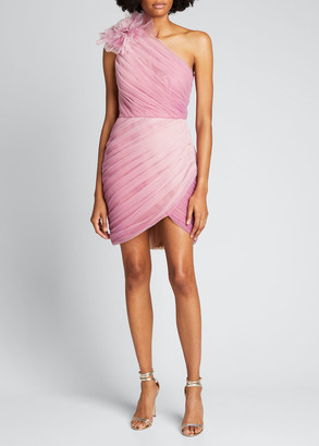 Pamella Roland Ombre Draped Tulle Cocktail Dress with Floral Detail