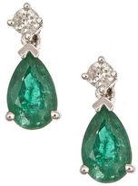 FINE JEWELRY Diamond Accent Green Emerald 14K Gold Drop Earrings