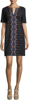 Nanette Lepore Short-Sleeve Embroidered Shift Dress