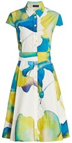 Piazza Sempione Cap-Sleeve Floral Fit-&-Flare Dress