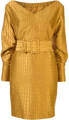 Sally LaPointe Crocodile Jacquard Dress