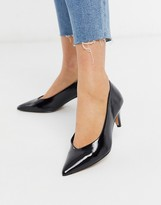Asos Design DESIGN Sensation kitten heel pumps in black patent