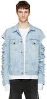 Palm Angels Blue Ripped Denim Jacket