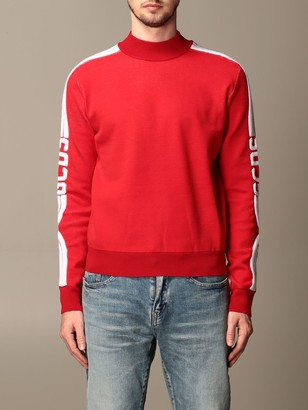 GCDS Sweater Sweatshirt In Stretch Wool Blend With Logoed Bands