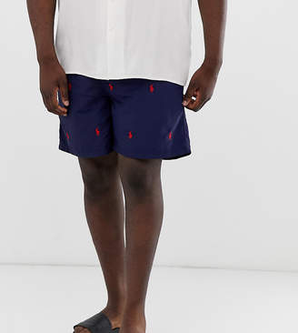 Big & Tall Traveler all over player logo swim shorts in navy