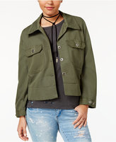 7 Sisters Juniors' Cropped Military Jacket
