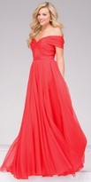 Jovani A-Line Silk Chiffon Off the Shoulder Prom Dress