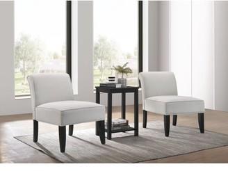 ACME Furniture Acme Genesis 3Pc Pack Chair & Table in Dark Gray Fabric & Black