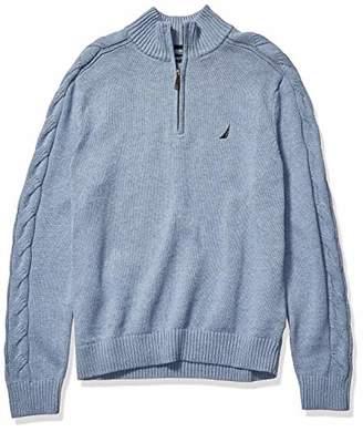Nautica Men's Half-Zip with Cable Sleeve Sweater