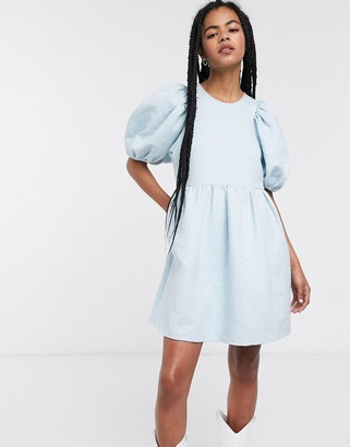 And other stories & puff sleeve jacquard mini dress in light blue