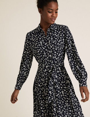 Marks and Spencer Ditsy Floral Pleated Midi Shirt Dress