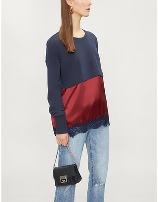 Pinko Contrast-panel cotton-blend and silk-satin sweatshirt