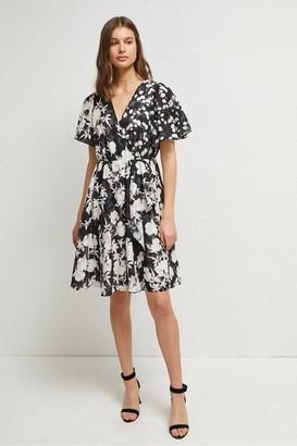 French Connection Bamba Devore Floral V Neck Dress