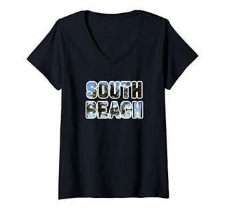 South Beach Womens Miami - Swaying Palm Trees V-Neck T-Shirt