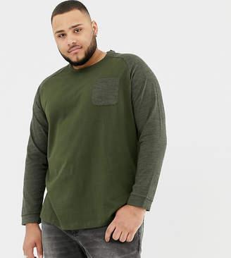 Tom Tailor Plus long sleeve top with raglan sleeve in green