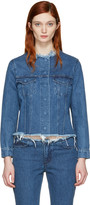 Marques Almeida Blue Denim Collarless Jacket