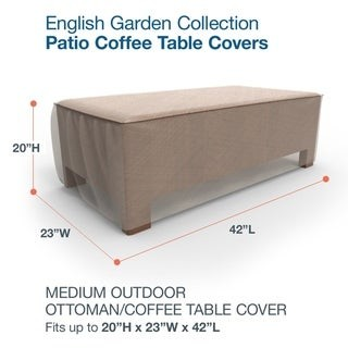 Budge Waterproof Outdoor Patio Ottoman Cover, / Coffee Table Cover, English Garden, Tan Tweed, Multiple Sizes