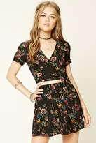 Forever 21 Strappy-Waist Floral Crop Top