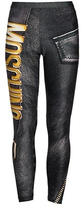 Moschino Logo Faux-Leather Zip Leggings