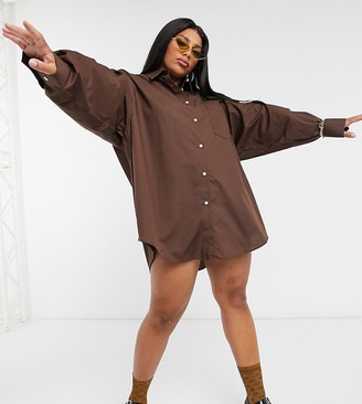 Collusion Plus oversized shirt in brown