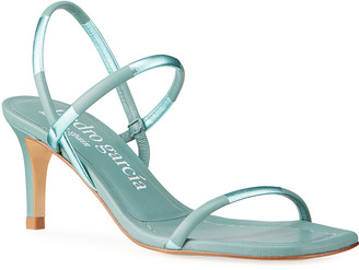 Pedro Garcia Ilona Two-Tone Metallic Strap Sandals