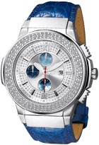 "JBW Men's JB-6101L-G ""Saxon"" Blue Stainless Steel Braided Leather Diamond Watch"