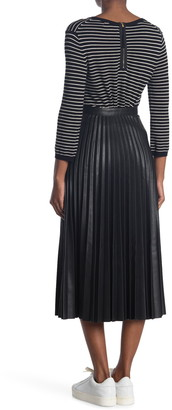 Topshop Faux Leather Pleated Midi Skirt