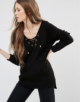 Brave Soul Tie Front Sweater