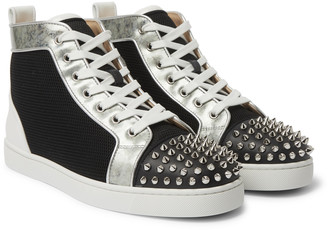 Christian Louboutin Louis Spiked Leather And Mesh High-Top Sneakers