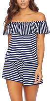 Splendid Navy Stripe Off-Shoulder Cover-Up Romper