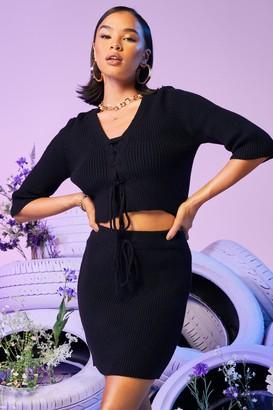 boohoo Rib Knitted Mini Skirt