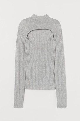 H&M Ribbed Turtleneck Top - Gray