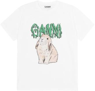 Ganni Basic Cotton Jersey Bunny T-Shirt