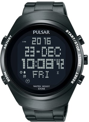 Pulsar Unisex Digital Quartz Watch with Stainless Steel Plated Bracelet PQ2057X1