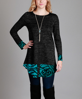Aster Black & Teal Floral Layered Tunic - Plus Too