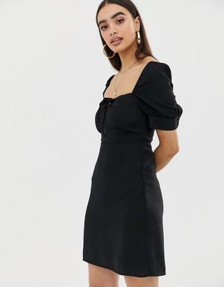 Fashion Union square neck tea dress-Black