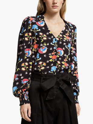 Somerset by Alice Temperley Peruvian Floral V-Neck Blouse, Black/Multi